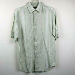 Cubavera Mens Shirt Button Up 100% Linen Striped